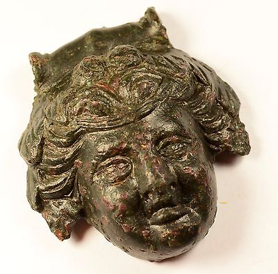 AMAZING ANCIENT ROMAN BRONZE THEATRE MASK APPLIQUÉ CIRCA - 1st - 4th C AD