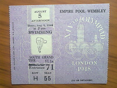 Ticket Olympic Games LONDON 1948 - SWIMMING 05.08.1948 (2 pm)