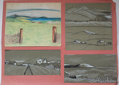 FOUR BEAUTIFUL ORIGINAL 20th CENTURY LANDSCAPE PASTEL DRAWINGS
