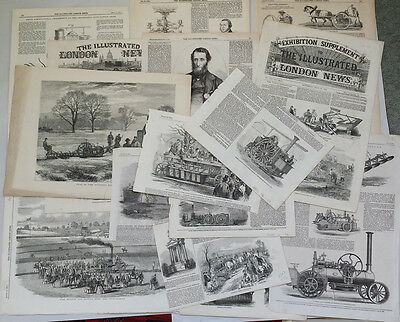 TRACTION / STEAM ENGINES - 15 x 19th CENTURY ANTIQUE ENGRAVINGS & PRINTS BUNDLE