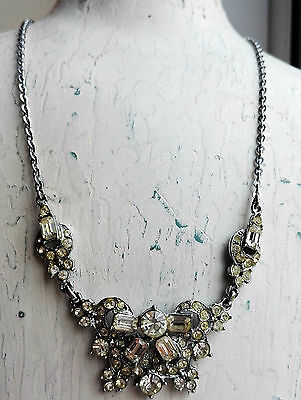 Vintage Dazzling Signed Hollywood Clear Rhinestone Paste Silver-Tone Necklace