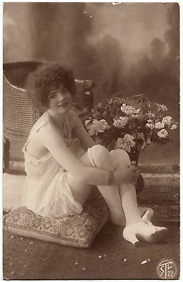 1910 Original French Erotic Rppc Nude Sexy Girl Beauty White Lingerie Stockings