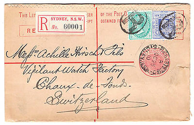 New South Wales to Switzerland registred uprated stationery Victoria stamps