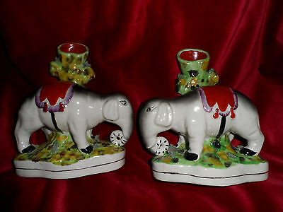 Pair of Staffordshire Elephant Spill Vases