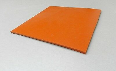 """SILICON RUBBER SHEET HIGH TEMP SOLID RED/ORANGE COMMERCIAL GRADE 10"""" x 10"""" x1/4"""""""