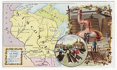 Arbuckle's Coffee State Series Wisconsin  Victorian Trade Card