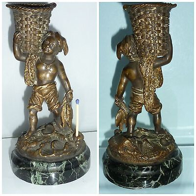 Bronze Fisher Boy Match Holder Striker Go To Bed Figure Statue