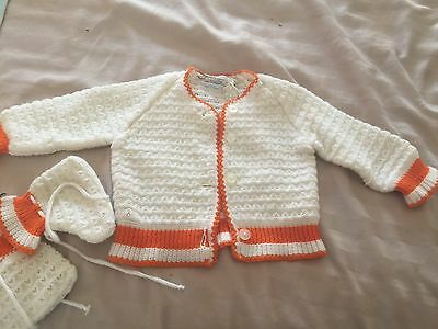 Vintage Hand knit Infant Sweater and Booties made in Italy