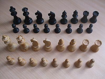 Lovely Vintage Wooden Chess Set In Wooden Sliding Top Box