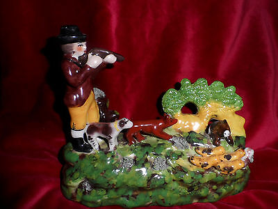 Staffordshire Figure Huntsman Farmer with dogs, birds and boar pig