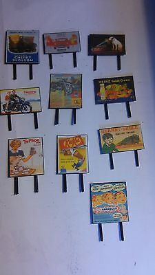 Model Railway Billboards / Signs 1960's style x 10  N Gauge Made by hand !!!