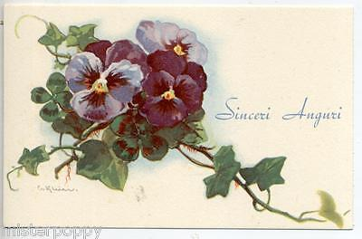 Rare & Unusual signed C. KLEIN Pansies Violet Viole PC Made in Italy circa 1930
