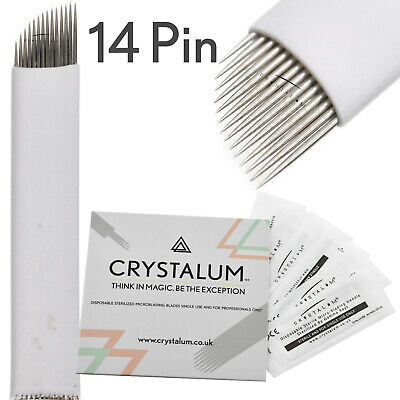 Microblading Needles Blades 14 Pin x10 Makeup Tattoo Manual Eyebrow CRYSTALUM