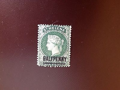 St Helena 1884-94 1/2d Surcharge on 6d Emerald MH