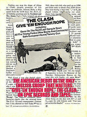 THE CLASH - LOU REED rare orig 1979 double sided print ad, GIVE EM ENOUGH ROPE