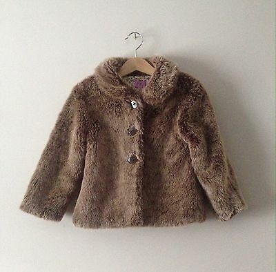 F&F Girls Brown Faux Fur Style Coat Floral Lined Age 3-4 Years Height 104cm