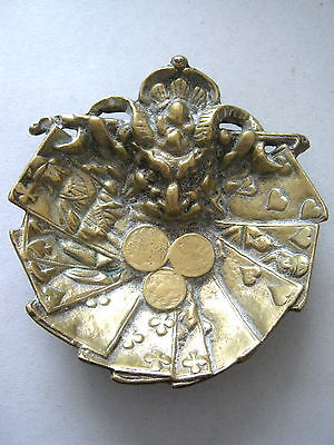 DEVILS HEAD ANTIQUE CAST BRASS OR BRONZE CHIP BET MONEY DISH PLAYING CARDS 1800s
