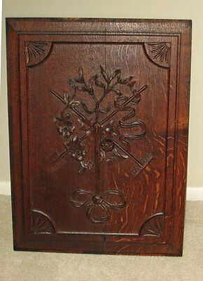 Antique Oak CARVED HARVEST PANEL W/ RIBBONS TOOLS FLOWERS **large**