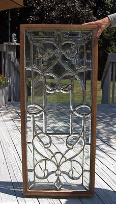 Antique American Fancy BEVELED LEADED WINDOW  c. 1890 -1900  **high quality**