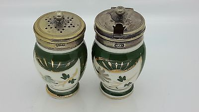 Condiment set with silver plated lids