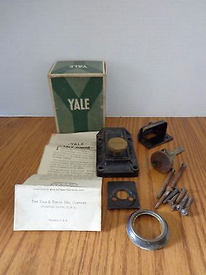 Antique Vintage Yale Rim Deadlock with Hardware, Directions and Original Box