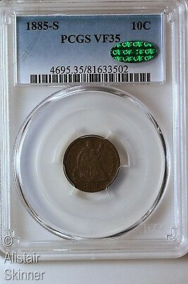 1885-S Seated Liberty Dime PCGS VF35 CAC Key Date