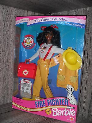 Muñeca Barbie Noir Black Career Collection Fire Fighter Doll NRFB