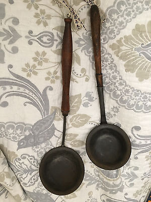 Lot 2 primitives Antique Ladle with a Shaped Wooden Handle Late 1800's AAFA