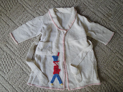 VINTAGE Childrens Handmade Terrycloth CHINILLE ROBE WITH TIE Baby Girl