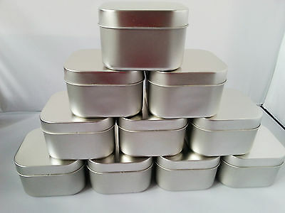 10 Empty Square Candle Cosmetic Nail Art Balm Craft Tins Pots Containers