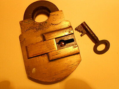 rare antique samuel withers solid brass and steel patent padlock and key