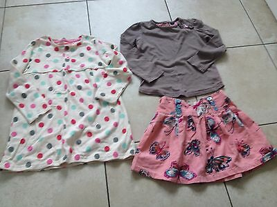 Next Girls Butterfly Skirt & Top Outfit and Spotted Dress Age 2-3 Years. VGC.