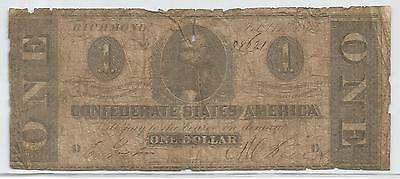 1864 Confederate States of America $1 One Dollar Bill Civil War Currency Note!