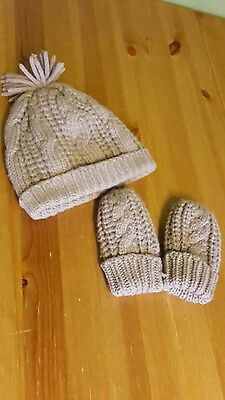 baby toddler boy girl hat and mitten set marks and  spencer 18 - 24 months