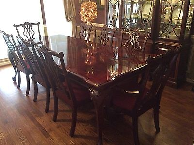 13 pc Dining Room Set Thomasville ALL Mahogany Table 8 Chairs China Cabinet EUC