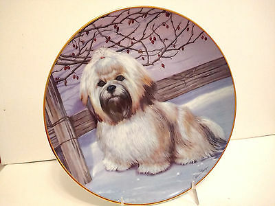 """Frosty Friend Lhasa Apso Dog Collector Plate Danbury Mint Patricia Bourque 8.25"""""""
