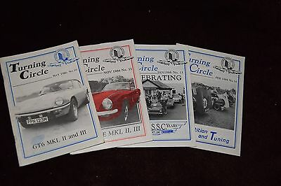 turning circle (The Triumph Sports Six Club Magazine) from 1986-89, 4 mags