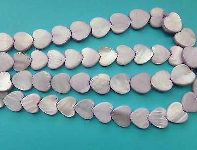 Shell - Natural Coloured Heart Shaped Beads - Full Strand