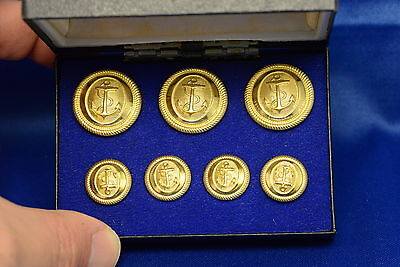 Set Of Vintage Navy Gold Uniform Buttons In Case - New Old Stock