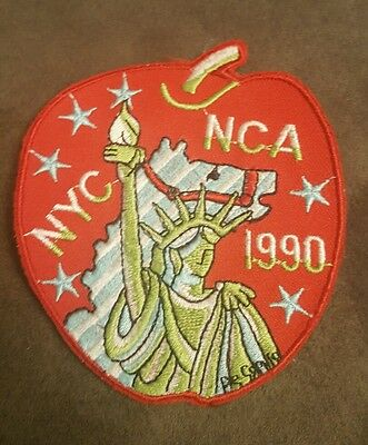 Nca Nyc 1990 Carousel Apple Shape Embroidered Sew On Patch •
