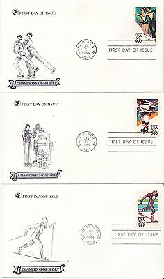 3 1984 USA Sarajevo winter Olympic games  first day cover FDC FDI champions