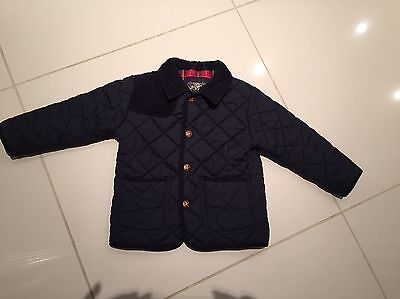 Boys Quilted Padded Coat Jacket Next Age 3-4 Navy