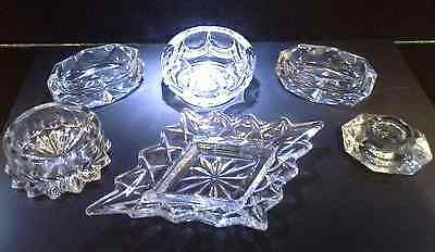 6 Cute Collectable Pressed Glass and Crystal Ornaments