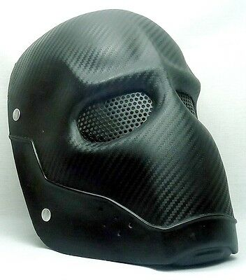 """Army of Two """"Carbon"""" Metal Black Custom Fiberglass Paintball / Airsoft Mask"""