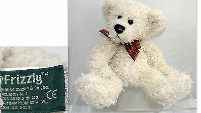 "Russ Berrie Cream Color Bear Frizzly Plush 5"" Sitting"