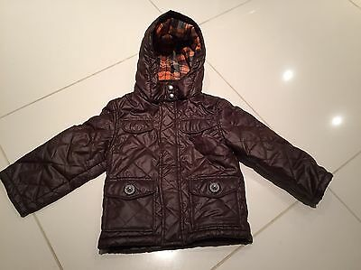 Boys Coat Jacket Age 2-3 Years Junior J Quilted Padded Hood