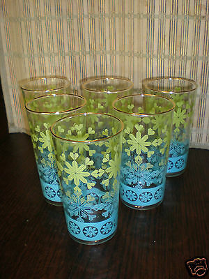 HTF Vintage Anchor Hocking Snowflakes Tumblers Glasses