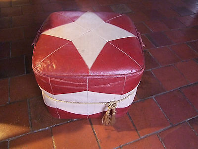 Vintage 60's Leatherette Pouffe red/cream