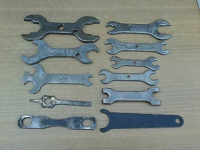 11 X  Old Vintage  Car, / Motorcycle Toolkit Spanners, Mixed Lot  Old Spanners,