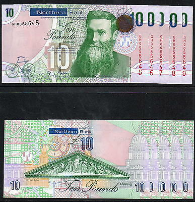 Northern Ireland - FINAL PRINT - Northern Bank £10 note - 2011 - In Sequence UNC